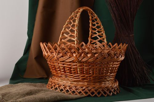 Stylish handmade woven basket beautiful Easter basket design home goods - MADEheart.com