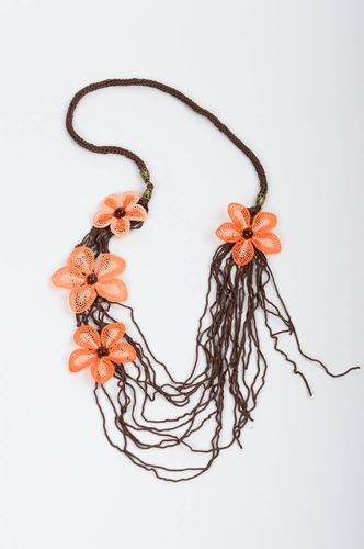 Beautiful handmade crochet necklace flower necklace textile jewelry gift ideas - MADEheart.com