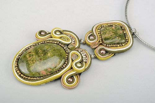 Necklace in the soutache weaving technique Mustard - MADEheart.com