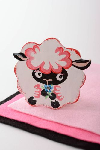 Handcrafted plywood refrigerator magnet in the form of sheep - MADEheart.com