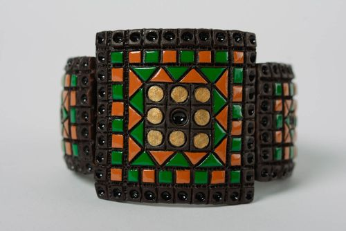 Handmade clay bracelet painted with color enamel and equipped with leather strap - MADEheart.com