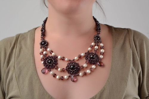 Handmade dark woven volume beaded womens designer necklace with natural stones - MADEheart.com