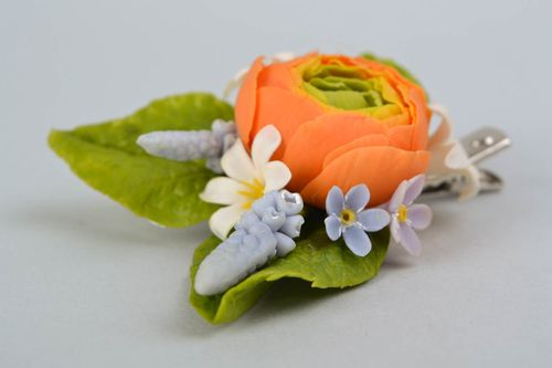 Hair clip made of self-hardening Thai clay Ranunculus - MADEheart.com