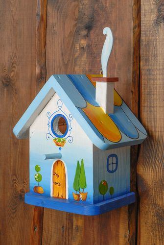 Handmade painted wooden birdhouse in the shape of forest house - MADEheart.com