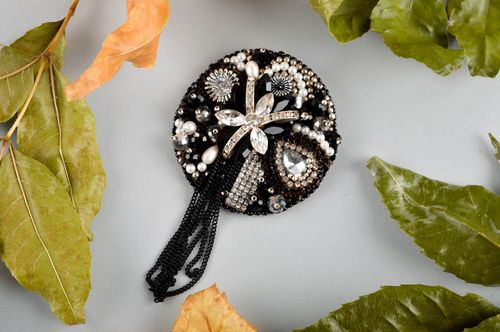 Genuine leather brooch handmade beaded brooch with embroidery stylish accessory - MADEheart.com