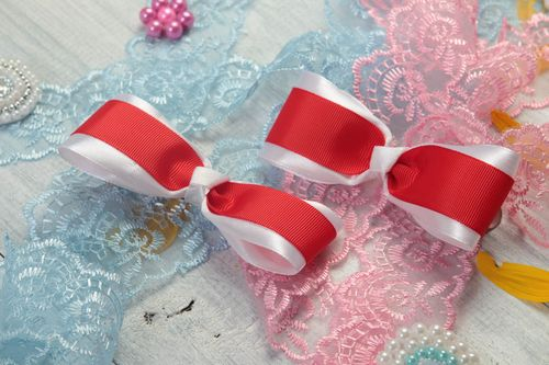 Set of 2 bow hair clips handmade hair accessories ribbon hair clips kids gifts - MADEheart.com