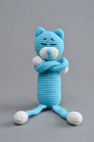 Unusual handmade blue crocheted toy in shape of cat for kids - MADEheart.com