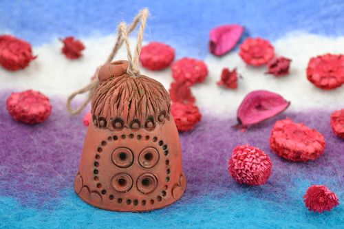 Small decorative wall hanging ceramic figured bell in ethic style House - MADEheart.com