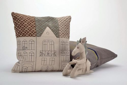 Pillow made from cotton and polyester with an embroidery House - MADEheart.com