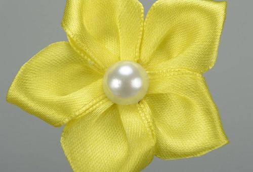 Barrette, satin, metal yellow flower - MADEheart.com