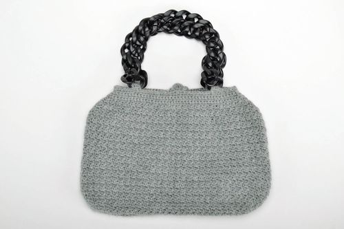 Grey crochet bag - MADEheart.com