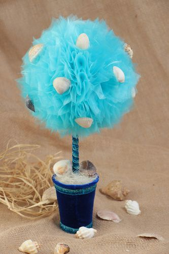 Handmade topiary with blue tulle and white shells in blue pot home decor - MADEheart.com