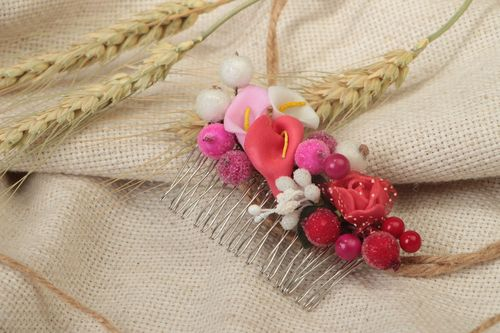 Handmade decorative metal hair comb with artificial berries and flowers - MADEheart.com