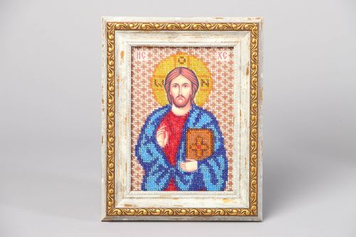 Jesus Christ icon embroidered with beads - MADEheart.com