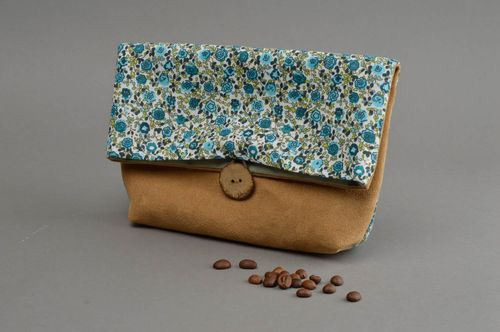 Handmade toiletry bag cosmetic case travel accessories for women beige suede bag - MADEheart.com