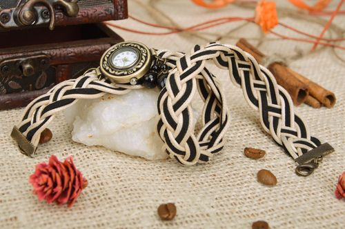 Handmade womens wrist watch with double wrap beige and black colors strap - MADEheart.com