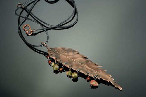 Copper pendant with unakite - MADEheart.com