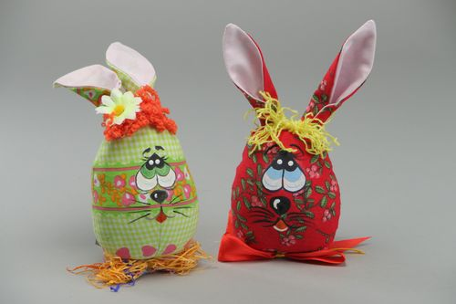 Handmade beautiful interior soft toys Rabbits sewn of fabric Easter decorations - MADEheart.com