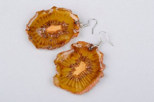 Earrings made of natural kiwi - MADEheart.com
