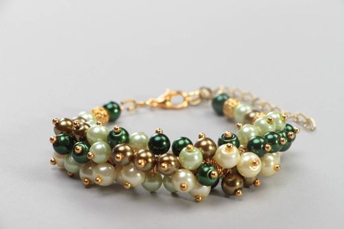 Beautiful handmade bracelet designer colorful accessory jewelry made of pearls - MADEheart.com