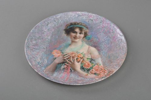Beautiful handmade decorative decoupage glass wall plate Retro Girl  - MADEheart.com