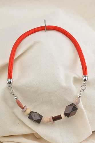 Handmade designer jewelry necklace made of wooden beads stylish accessory - MADEheart.com