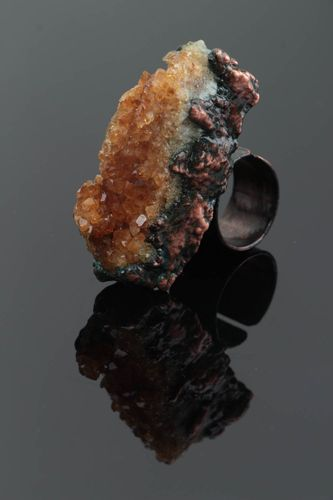 Massive handmade copper ring with citrine natural stone open type basis - MADEheart.com