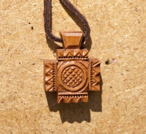 Unusual wooden cross pendant - MADEheart.com