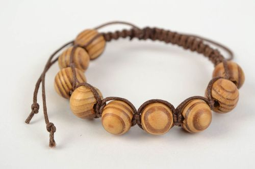 Handmade designer woven cotton cord bracelet with wooden beads - MADEheart.com