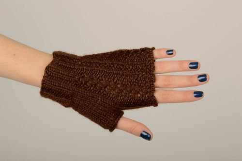 Handmade unusual knitted mitts stylish female mitts beautiful elegant mitts - MADEheart.com