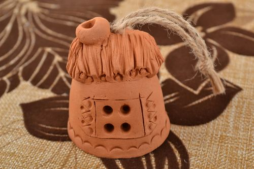 Decorative designer ceramic bell little house handmade wall pendant for interior - MADEheart.com