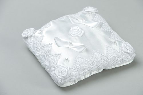 White satin wedding ring pillow - MADEheart.com