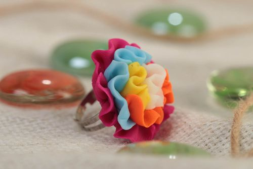 Handmade designer polymer clay jewelry ring with volume flower and metal basis - MADEheart.com