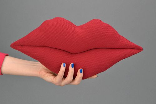 Unusual fabric pillow in the shape of lips - MADEheart.com