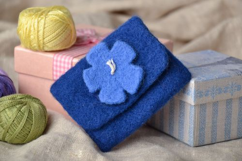 Childs blue wallet felted of wool with flower - MADEheart.com
