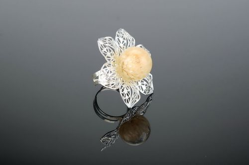 Ring with natural flower coated with epoxy Gomphrena - MADEheart.com