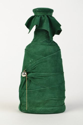 Handmade green bottle decorated with natural suede with cork for wine and home decor - MADEheart.com