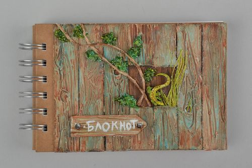 Beautiful handcrafted notebook with spring 90 sheets with cardboard cover - MADEheart.com