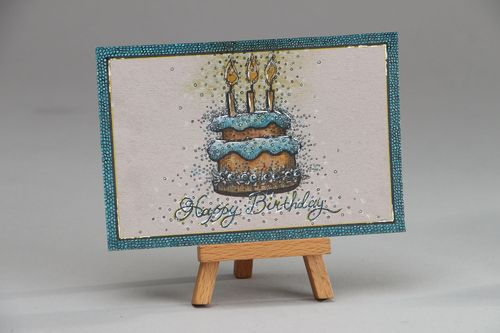 Greeting card with gel pen painting Happy Birthday - MADEheart.com