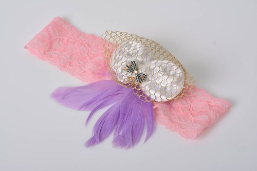 Beautiful handmade childrens headband with lace bow and feathers - MADEheart.com