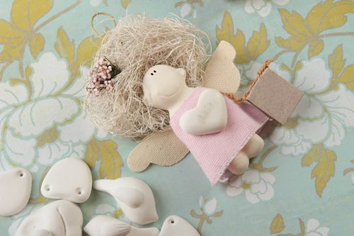 Unusual handmade textile toy rag doll wall hanging decorative use only - MADEheart.com