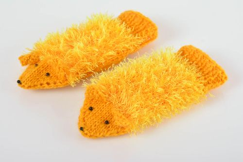 Bright handmade knitted yellow mittens made of wool warm soft winter accessory - MADEheart.com