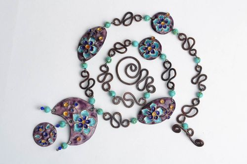 Handmade massive copper necklace painted with colorful enamels in violet colors - MADEheart.com