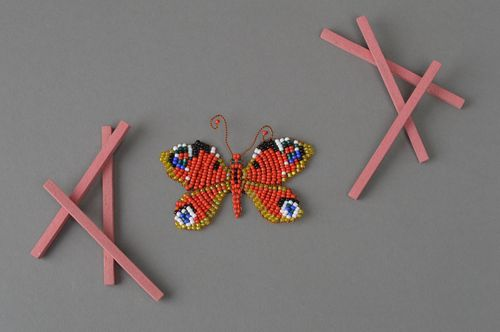 Handmade beaded fridge magnet yellow-red butterfly kitchen decor ideas - MADEheart.com