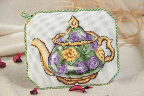Handmade decorative soft fabric coaster for drinks with embroidery Teapot - MADEheart.com