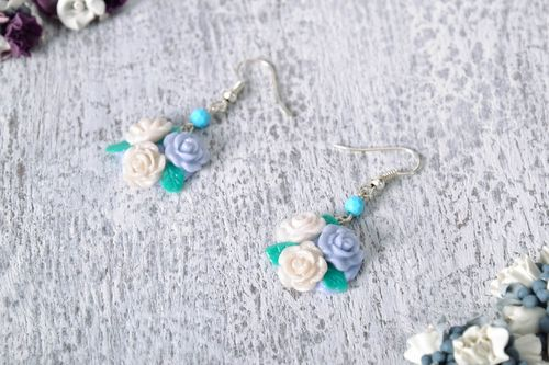 Earrings made of polymer clay Roses - MADEheart.com