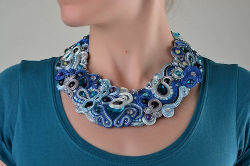 Blue handmade soutache necklace with natural stone and strasses - MADEheart.com