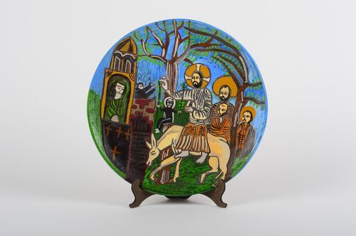 Unusual handmade wall plate ceramic plate pottery works decorative use only - MADEheart.com