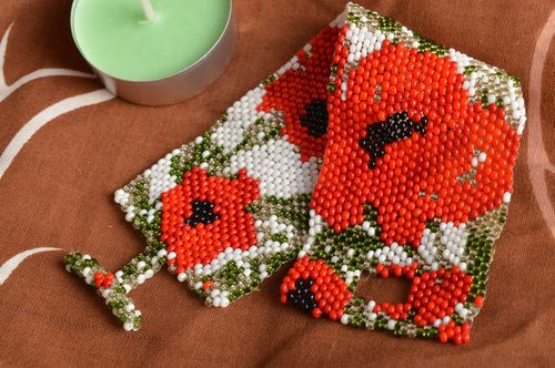 Handmade designer wide bead woven cuff bracelet with red poppies ornament - MADEheart.com