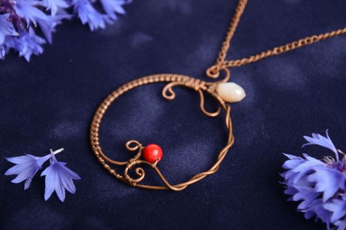 Beautiful designer handmade wire wrap copper pendant with beads and crystal - MADEheart.com